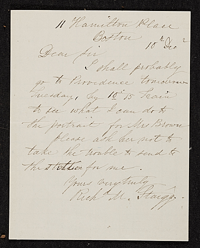 R. M. (Richard Morrell) Staigg, Boston, Mass. letter to unidentified recipient