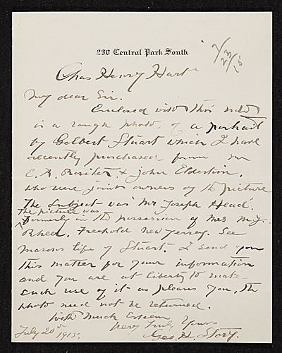 George Henry Story, New York, N.Y. letter to Charles Henry Hart