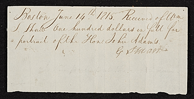 Receipt for purchase by Wm. S. Shaw of the portrait of the Hon. John Adams from G. Stuart.
