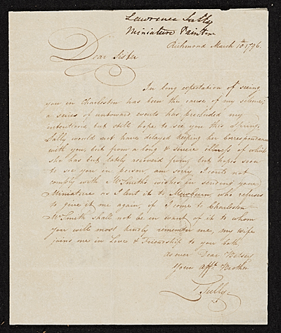 [Thomas Sully, Richmond, Va. letter to Lawrence Sully, Charleston, S.C.]