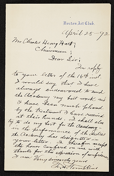 T. H. Tompkins, Boston, Mass. letter to Charles Henry Hart