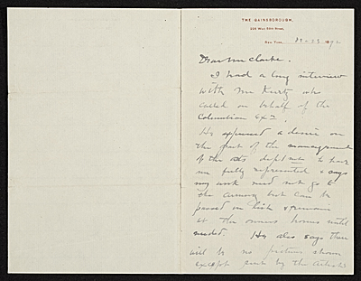 Dwight William Tryon, New York, N.Y. letter to Thomas B. (Thomas Benedict) Clarke