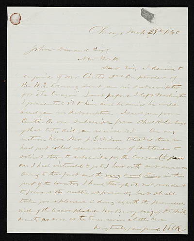 Leonard Wells Volk, Chicago, Ill. letter to John Durand, New York, N.Y.