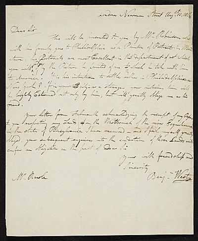 [Benjamin West letter to William Rawle]