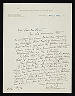 William Merritt Chase, Philadelphia, Pa. letter to Charles Henry Hart