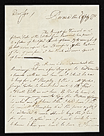 John Singleton Copley letter to unidentified recipient