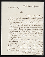 Chester Harding, Baltimore, Md. letter to Asher Brown Durand, New York, N.Y.
