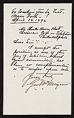 George W. (George Willoughby) Maynard, New York, N.Y. letter to Charles Henry Hart, Philadelphia, Pa.