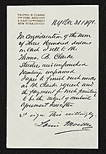 Reciept of sale of studies and paintings by Louis Moeller to Thomas B. Clarke.