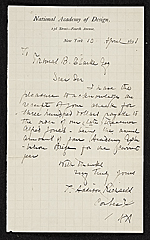 T. Addison (Thomas Addison) Richards, New York, N.Y. letter to Thomas B. (Thomas Benedict) Clarke