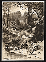 [Etching of a man sitting by a creek ]