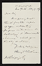 Henry T. (Henry Theodore) Tuckerman, New York, N.Y. letter to unidentified recipient