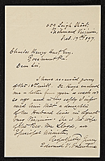 Edward Virginius Valentine, Richmond, Va. letter to Charles Henry Hart