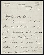 Harry W. (Harry Willson) Watrous, New York, N.Y. letter to Thomas B. (Thomas Benedict) Clarke