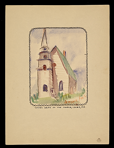 [Water color of the church, Corea, ME.]