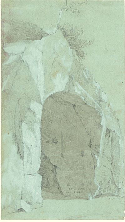 Jasper Francis Cropsey, Study, Cave at Sorrento, Bay of Naples. Pencil and brown wash with touches of white on blue paper