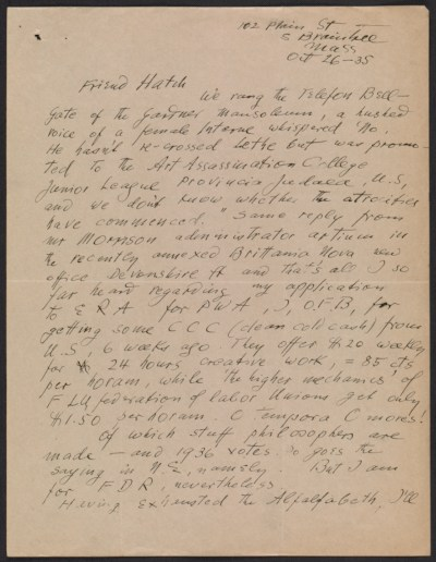 Oscar Bluemner letter to John Davis Hatch