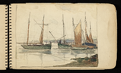 [Palmer Hayden Sketchbook with Studies of Sailboats in France]