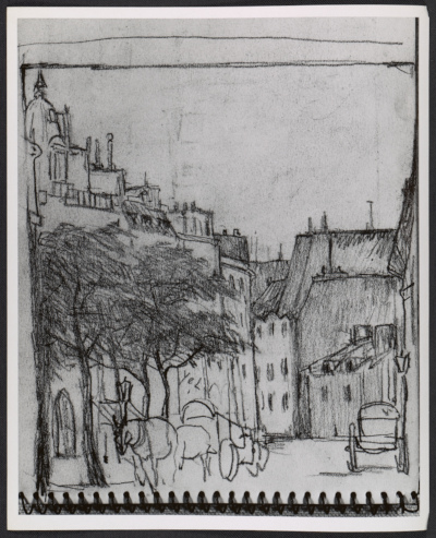 Photograph of a drawing from a sketchbook