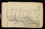 [Palmer Hayden Sketchbook with Studies of Sailboats in France sketchbook page 3]