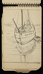 [Palmer Hayden Sketchbook with Studies of Sailboats in France sketchbook page 6]