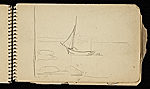 [Palmer Hayden Sketchbook with Studies of Sailboats in France sketchbook page 8]