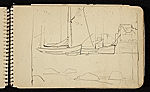 [Palmer Hayden Sketchbook with Studies of Sailboats in France sketchbook page 9]