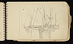 [Palmer Hayden Sketchbook with Studies of Sailboats in France sketchbook page 14]