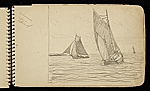 [Palmer Hayden Sketchbook with Studies of Sailboats in France sketchbook page 15]