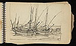 [Palmer Hayden Sketchbook with Studies of Sailboats in France sketchbook page 22]