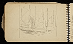 [Palmer Hayden Sketchbook with Studies of Sailboats in France sketchbook page 28]