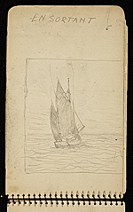 [Palmer Hayden Sketchbook with Studies of Sailboats in France sketchbook page 37]