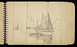 [Palmer Hayden Sketchbook with Studies of Sailboats in France sketchbook page 39]