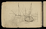 [Palmer Hayden Sketchbook with Studies of Sailboats in France sketchbook page 43]