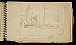 [Palmer Hayden Sketchbook with Studies of Sailboats in France sketchbook page 47]