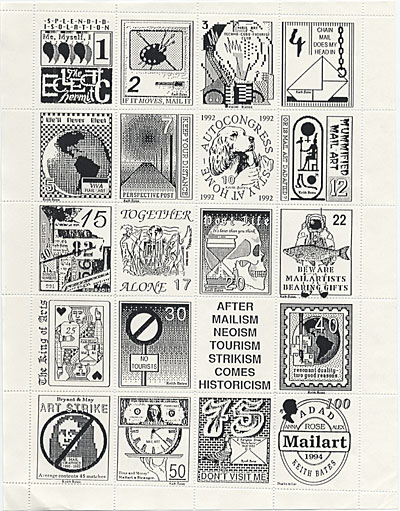 Sheet of twenty assorted stamps