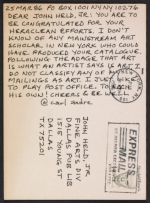 Carl Andre postcard to John Held
