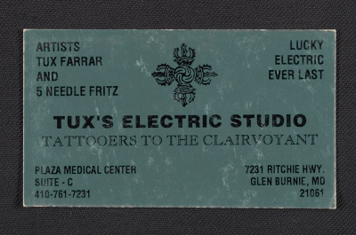 Tuxs Electric Studio tattooers business card