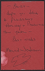 [Christmas card by Martin Johnson to Herbert Waide Hemphill, Jr. verso 1]