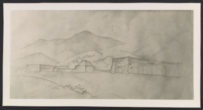 A photograph of a drawing of the Meem Museum and Henderson Hogan