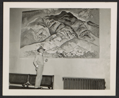 [William Penhallow Henderson observing the installation of one of his murals in the Federal Court Building in Santa Fe, New Mexico]
