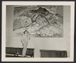 [William Penhallow Henderson observing the installation of one of his murals in the Federal Court Building in Santa Fe, New Mexico ]