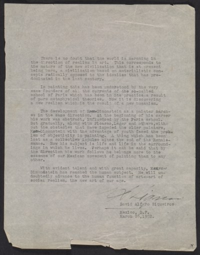David Alfaro Siqueiros letter of recommendation for Mort Dimondstein