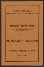 Program for the dedication of Charles White Park