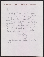 Karl Benjamin letter to Benjamin Horowitz of the Heritage Gallery