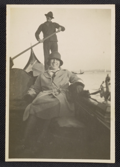 Nan Mason in a gondola on the Grand Canal in Venice