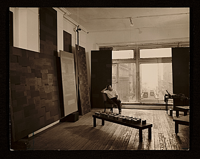 [Ad Reinhardt in his studio]