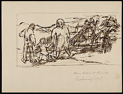 [Sketch of two adults and a child walking in the country]