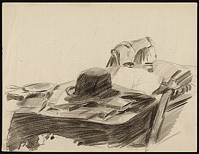 [Sketch of a hat and papers on a table]