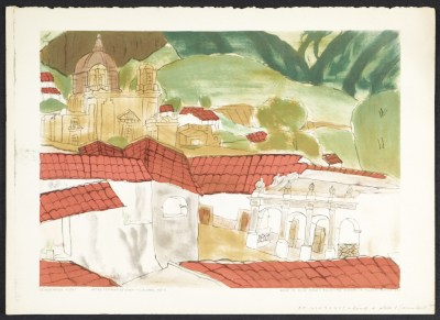 [Reproduction of Schoolhouse vista, a tempera by Efren Villalobos, age 11]